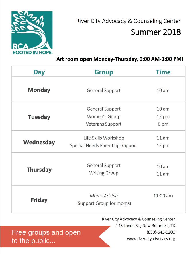 Groups Schedule Summer 2018